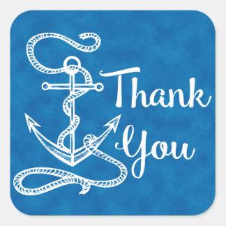 Nautical Thank You Ship Anchor Watercolor Blue Square Sticker