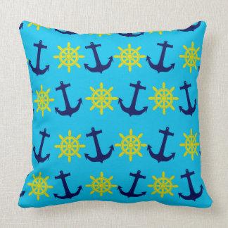 Nautical Theme Anchor and Wheel Pattern Throw Pillow