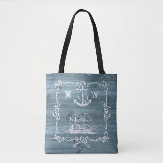Nautical Theme Anchor, Ropes and Ship Tote Bag