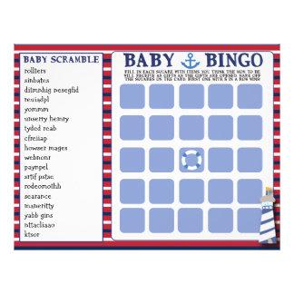 Nautical Theme Baby Shower Games Baby Bingo 2 in 1 Flyer