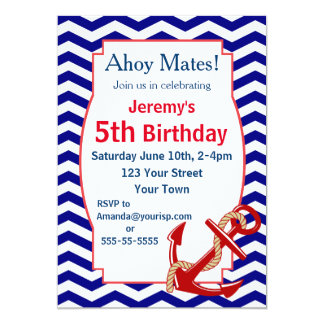 Nautical Theme Birthday Party 13 Cm X 18 Cm Invitation Card
