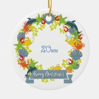 Nautical Theme Christmas Wreath Ornament - Coastal