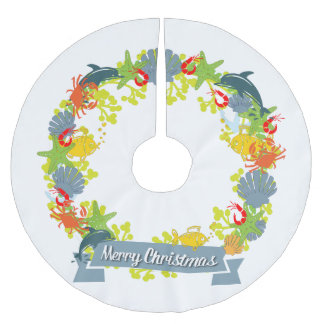 Nautical Theme Christmas Wreath Tree Skirt Brushed Polyester Tree Skirt