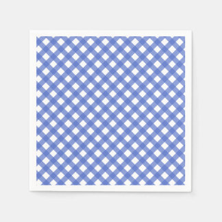 Nautical Theme - Navy Blue Plaid Paper Napkins
