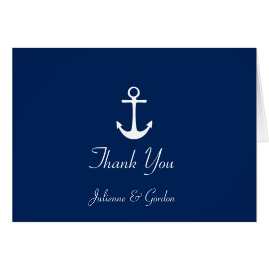 Nautical Theme Navy Blue White Stripes Thank You Card