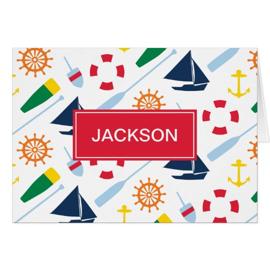 Nautical Theme Personalised Kids Thank You Card