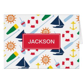 Nautical Theme Personalized Kids Thank You Card