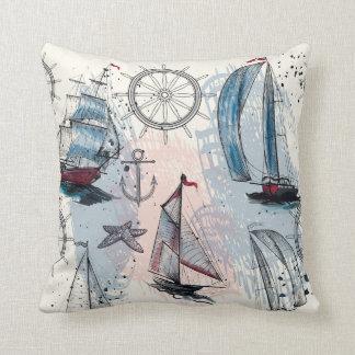 Nautical Theme. Regatta. Throw Pillow