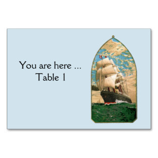 Nautical theme with old Sailing Ship Card