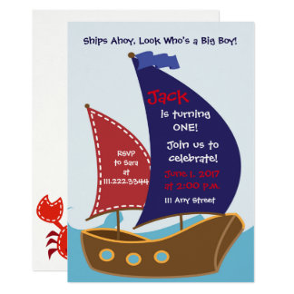 Nautical Themed Birthday Invite- Sailing Bday Card