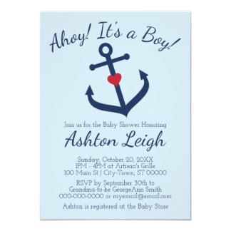 Nautical themed Boy Baby Shower Invitation - BLUE