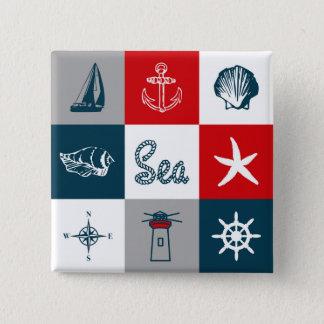 Nautical themed design 15 cm square badge