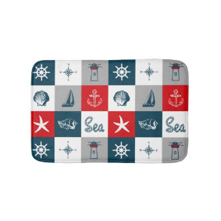 Nautical themed design bath mats