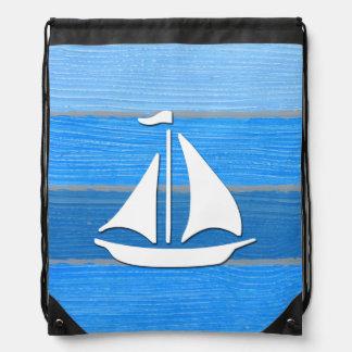 Nautical themed design drawstring bag