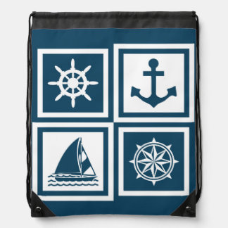 Nautical themed design drawstring bag
