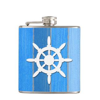 Nautical themed design hip flask