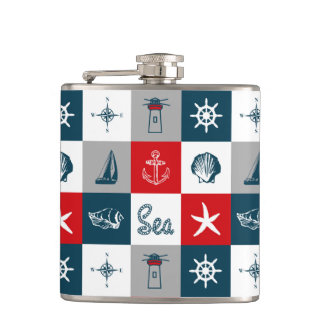 Nautical themed design hip flask