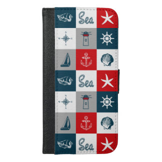 Nautical themed design iPhone 6/6s plus wallet case