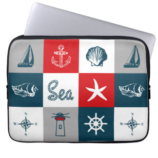 Nautical themed design laptop sleeve