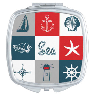 Nautical themed design makeup mirrors