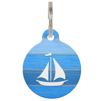 Nautical themed design pet name tag