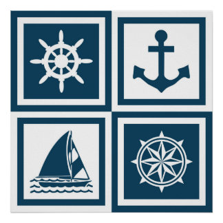 Nautical themed design poster