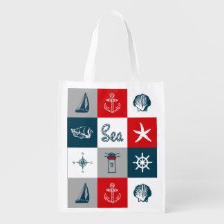 Nautical themed design reusable grocery bag