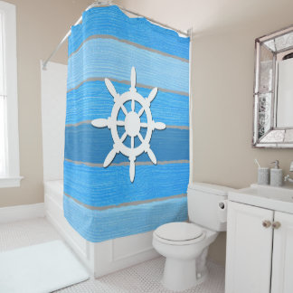 Nautical themed design shower curtain