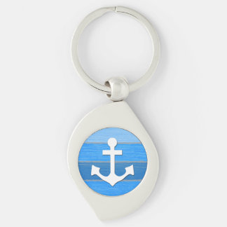 Nautical themed design Silver-Colored swirl key ring