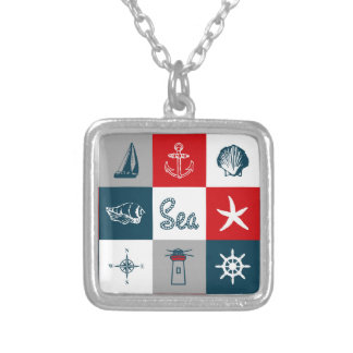 Nautical themed design silver plated necklace