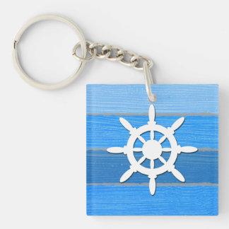 Nautical themed design Single-Sided square acrylic key ring