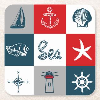 Nautical themed design square paper coaster