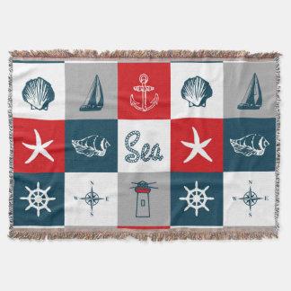 Nautical themed design throw blanket