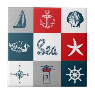 Nautical themed design tile