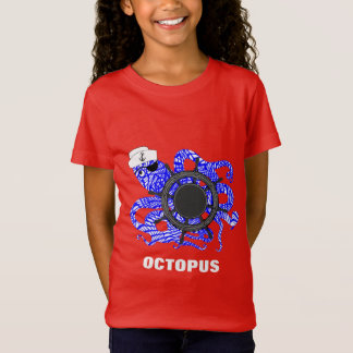 Nautical Themed Funny Octopus Sailor Cute Whimsy T-Shirt