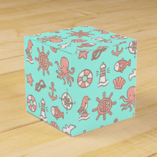 Nautical Themed Pattern Birthday Party Favour Box