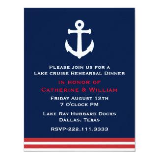 Nautical Themed Wedding Rehearsal Dinner 11 Cm X 14 Cm Invitation Card