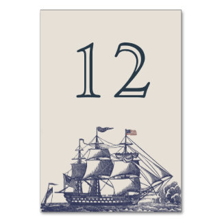 Nautical Themed Wedding Table Number Card