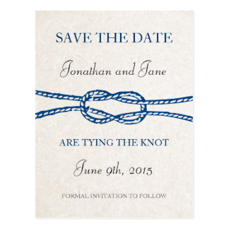 Nautical Tie the Knot Wedding Save the Date (Grey) Postcard