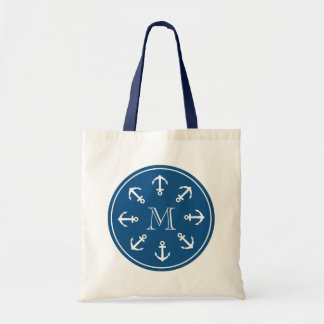 Nautical tote bag with round boat anchor monogram