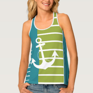 Nautical Turquoise Green Stripe with Anchor Singlet