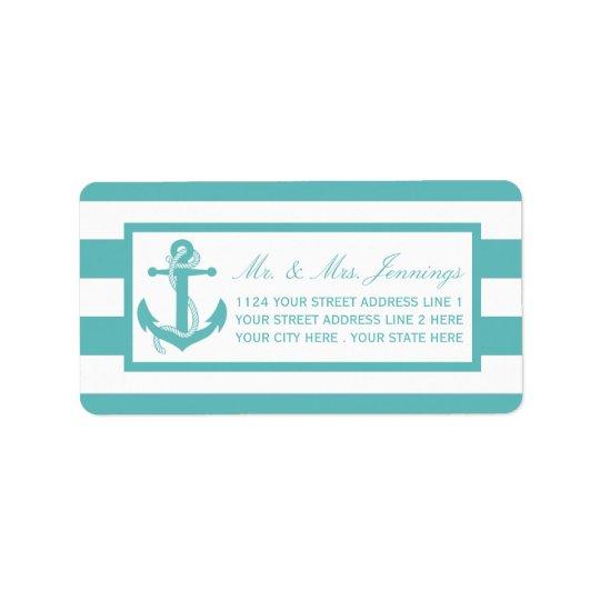 Nautical Turquoise Stripe Anchor Wedding Labels
