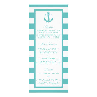 Nautical Turquoise Stripe Anchor Wedding Menu