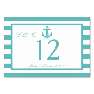 Nautical Turquoise Stripe Anchor Wedding Number Card
