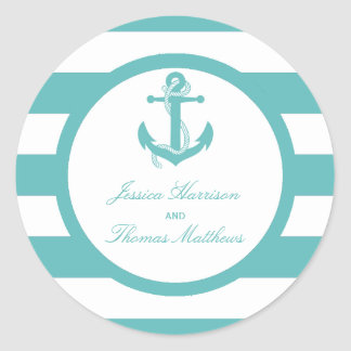 Nautical Turquoise Stripe Anchor Wedding Round Sticker