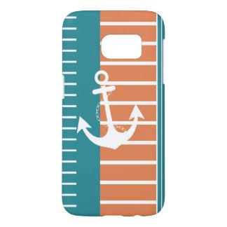 Nautical Turquoise White Orange Stripe Design