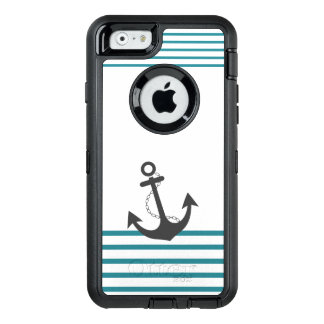 Nautical Turquoise White Stripe Anchor Design OtterBox iPhone 6/6s Case