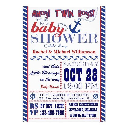 Nautical Twin Baby Boy Shower Invitation