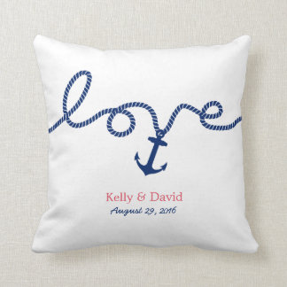 Nautical Tying the Knot Anchor Wedding Cushion