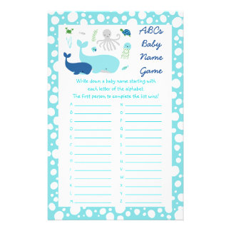 Nautical Under The Sea ABC Baby Name Game Flyer